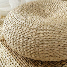 Load image into Gallery viewer, Straw Round Meditation Floor Cushion - Close Up View - Meraki Cole Company
