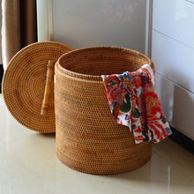 Load image into Gallery viewer, Handmade Rattan Laundry Storage Basket with Lid - Meraki Cole Company