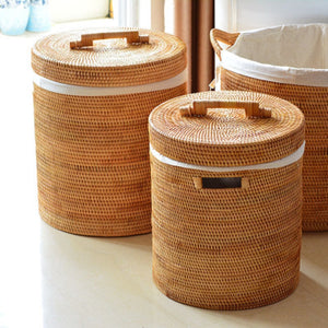 Handmade Rattan Laundry Storage Basket with Lid - Meraki Cole Company