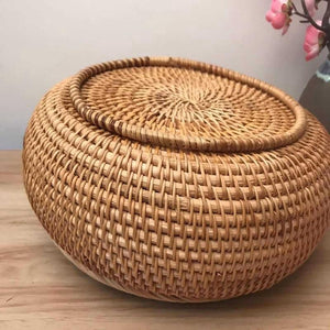Handmade Rattan Weaving Storage Bowl with Lid - Meraki Cole Company