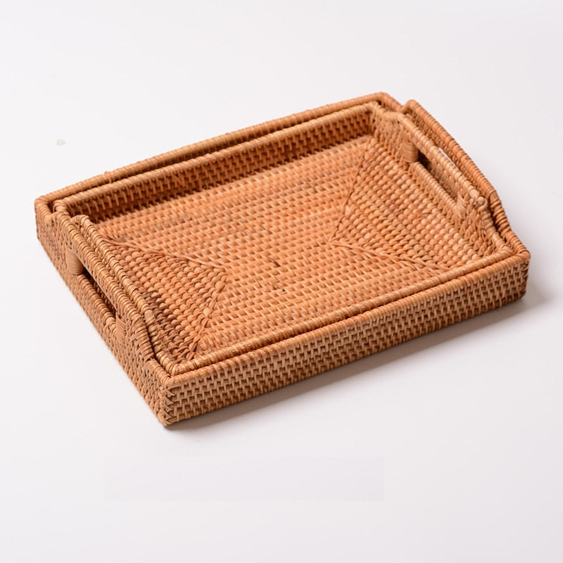 Handwoven Square Rattan Serving Tray with Handles - Meraki Cole Company
