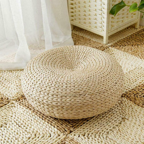 Straw Round Meditation Floor Cushion - Meraki Cole Company