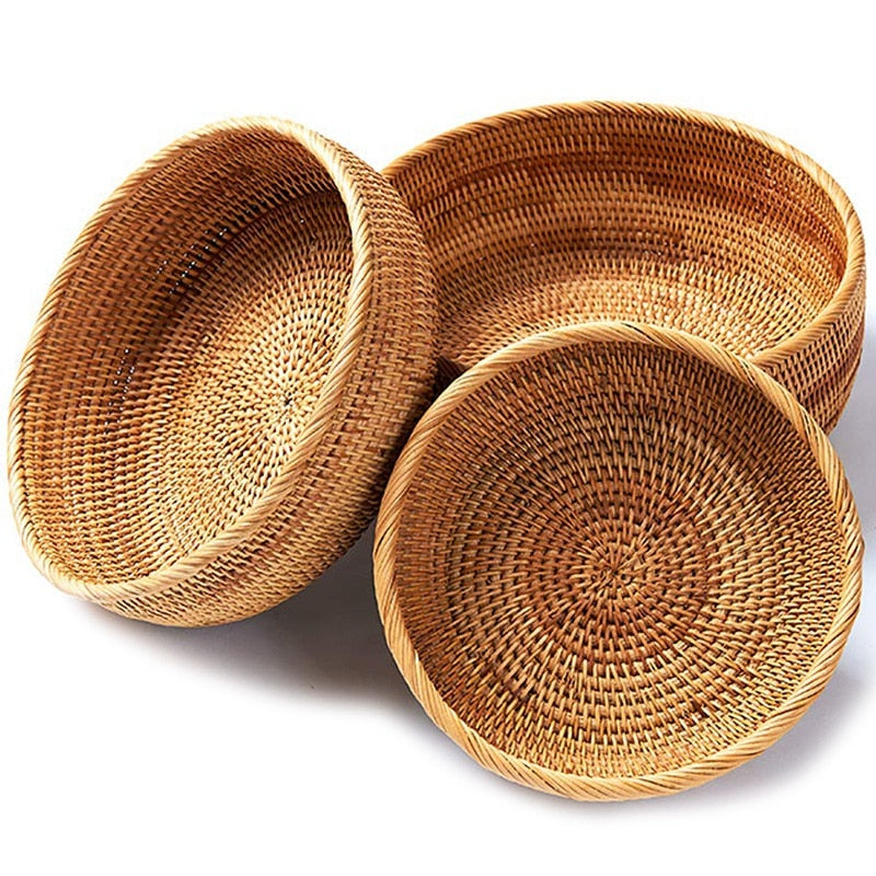 Natural Rattan Storage Bowls (3 Piece Set) - Meraki Cole Company