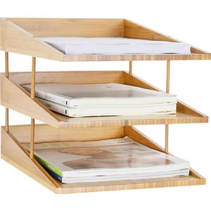 Bamboo 3-Layer File Tray Desk Organizer - Meraki Cole Company