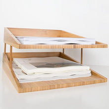 Load image into Gallery viewer, Bamboo 2-Layer File Tray Desk Organizer - Meraki Cole Company