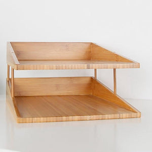 Bamboo 2-Layer File Tray Desk Organizer - Meraki Cole Company
