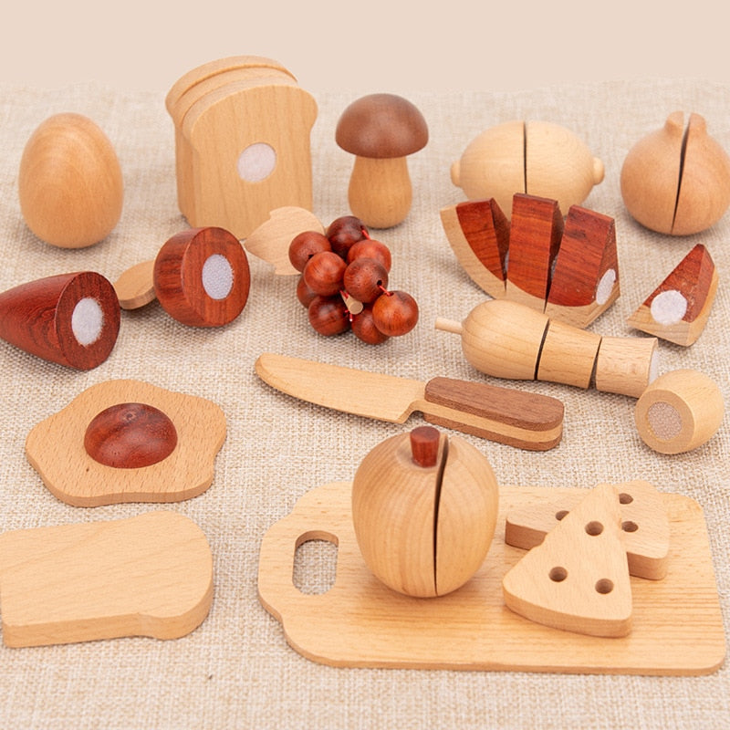 Kids Kitchen Toys Wooden Pretend Toy Cutting Fruit Vegetable Set - 30 Pc Set - Meraki Cole Company