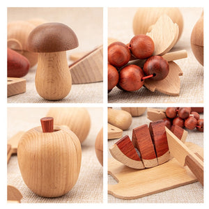 Kids Kitchen Toys Wooden Pretend Toy Cutting Fruit Vegetable Set - Meraki Cole Company