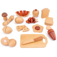 Load image into Gallery viewer, Kids Kitchen Toys Wooden Pretend Toy Cutting Fruit Vegetable Set - Meraki Cole Company