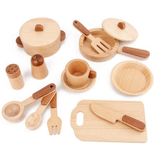 Load image into Gallery viewer, Children's Wooden Tableware Kitchen Accessories Set - 15 Piece Set - Meraki Cole Company