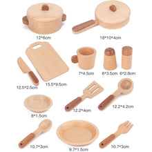 Load image into Gallery viewer, Children's Wooden Tableware Kitchen Accessories Set - 15 Piece Set - Product Sizes - Meraki Cole Company