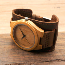 Load image into Gallery viewer, Bamboo Wide Design Wristwatch - Meraki Cole Company