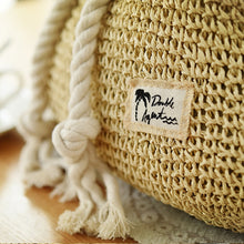 Load image into Gallery viewer, Drawstring Crochet Straw Beach Bag - Meraki Cole Company