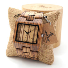 Load image into Gallery viewer, Mens Rectangle Quarts Zebra Bamboo Wristwatch - Showcased with Shipping Pillow - Meraki Cole Company