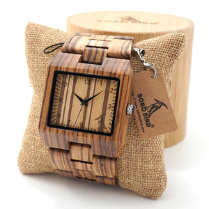 Mens Rectangle Quarts Zebra Bamboo Wristwatch - Showcased with Shipping Pillow - Meraki Cole Company