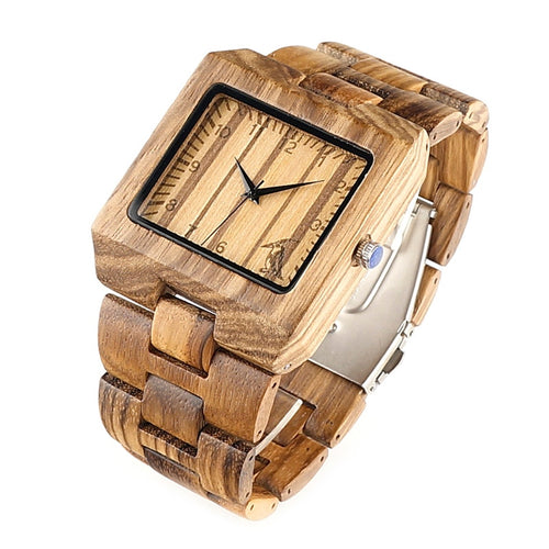 Mens Rectangle Quarts Zebra Bamboo Wristwatch - Meraki Cole Company
