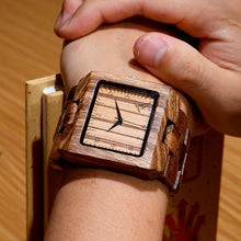 Load image into Gallery viewer, Mens Rectangle Quarts Zebra Bamboo Wristwatch