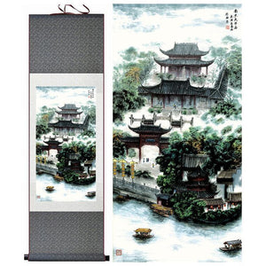 Chinese Landscape Silk Art Painting - Colors Green and Neutral Colors - Meraki Cole Company