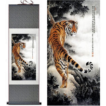 Load image into Gallery viewer, Asian Tiger Silk Art Painting, Meraki Cole Company