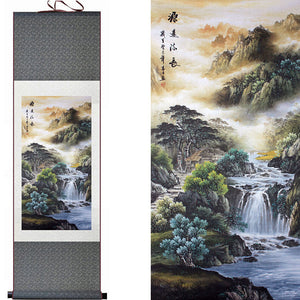 Mountain and River Landscape Silk Art Painting - Green and Neutral Colors - Meraki Cole Company