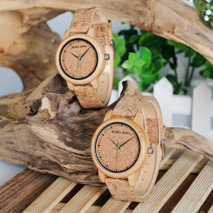 Natural Cork Watch Bamboo Wooden Lovers Timepiece Set - Mens and Ladies Watch - Meraki Cole Company