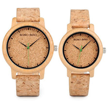 Load image into Gallery viewer, Natural Cork Watch Bamboo Wooden Lovers Timepiece Set (2 Pieces) - Meraki Cole Company