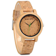 Load image into Gallery viewer, Natural Cork Watch Bamboo Wooden Men Ladies Timepiece - Ladies Watch - Meraki Cole Company