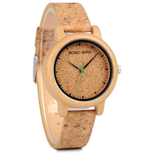 Natural Cork Watch Bamboo Wooden Men Ladies Timepiece - Ladies Watch - Meraki Cole Company
