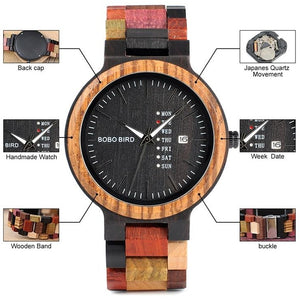 Mens Multicolored Bamboo Wooden Watch - Meraki Cole Company