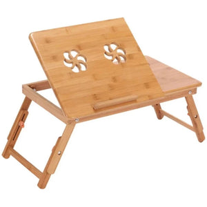 Adjustable Bamboo Laptop Table with Cooling Fan - Meraki Cole Company