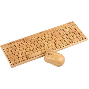 Handcrafted Natural Bamboo Wireless Keyboard and Mouse - Meraki Cole Company
