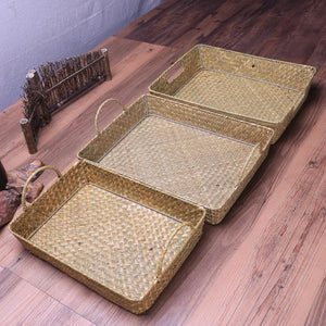Portable Straw Woven Storage Basket - Meraki Cole Company