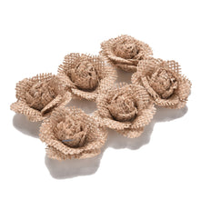 Load image into Gallery viewer, Handmade Jute Burlap Rose Flowers (6 Pieces) - Meraki Cole Company