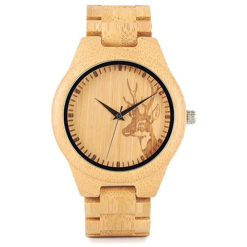Mens Bamboo Wood Watch with Deer - Meraki Cole Company