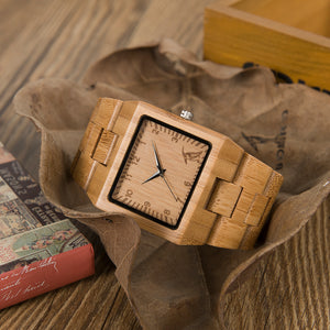 Mens Rectangle Quarts Bamboo Wristwatch - Meraki Cole Company