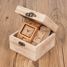 Load image into Gallery viewer, Mens Rectangle Quarts Bamboo Wristwatch - Meraki Cole Company
