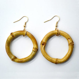 Large Real Bamboo Hoop Earrings - Meraki Cole Company