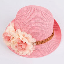 Load image into Gallery viewer, Kids Floral Straw Hat - Meraki Cole Company