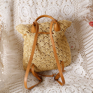Women's Bohemian Straw Backpack