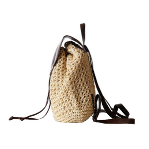 Female Fashion Straw Backpack