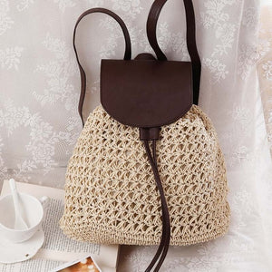Female Fashion Straw Backpack - Color Beige - Meraki Cole Company