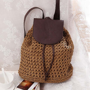 Female Fashion Straw Backpack - Color Brown - Meraki Cole Company