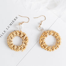 Load image into Gallery viewer, Straw Circle Round Drop Earrings - Meraki Cole Company