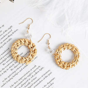 Straw Round Circle Drop Earrings