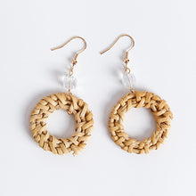 Load image into Gallery viewer, Straw Round Circle Drop Earrings - Meraki Cole Company