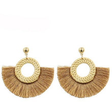 Load image into Gallery viewer, Handmade Straw Tassel Earrings for Women - Meraki Cole Company