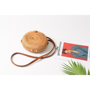 Straw Rattan Cross Body Bag - Round - Meraki Cole Company