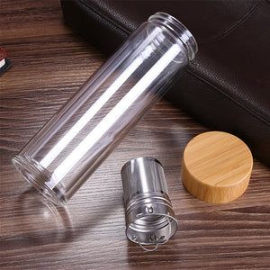 Reusable Glass Water Bottle with Tea Infuser Bamboo Lid - Meraki Cole Company