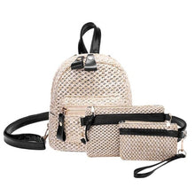 Load image into Gallery viewer, Mini Straw Weave Backpack Set (3 Piece) - Meraki Cole Company