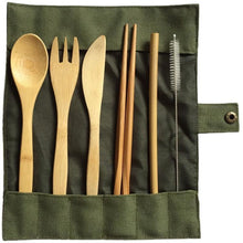 Load image into Gallery viewer, Reusable Bamboo Wooden Cutlery (6 Piece Set) - Meraki Cole Company